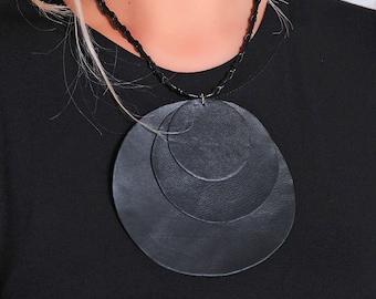 Black Statement Necklace/ Leather Pendant/ Chunky Necklace/ Circle Necklace/ Leather Accessory/Boho Pendant/ Fashion Necklace/Modern Jewelry