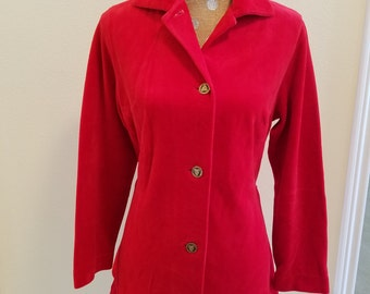 Vintage Max Hurni Red Velvet Jacket, vintage clothing, vintage red velvet jacket, red velvet jacket, Valentines Day jacket