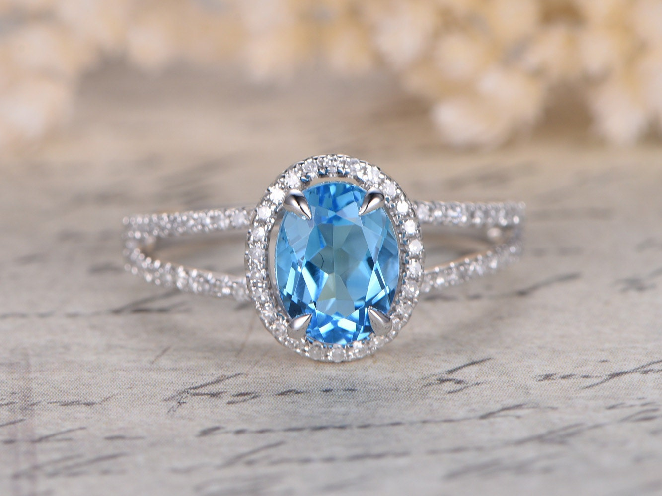 6x8mm Oval Cut Sky Blue Topaz Engagement Ring Split Shank