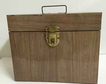 Vintage Faux Wood Metal File Box/ Vintage Metal Box/ VIntage Storage
