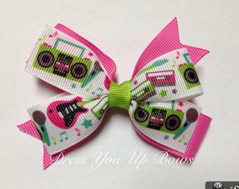 """3.5"""" boombox hot pink guitar make some noise rockstar rock star microphone hair bow clip birthday party favor pinwheel stacked small mini"""