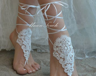 Embroidered Free, beach wedding barefoot sandals, ivory barefoot sandles, lace barefoot sandals, beach lace wedding shoes lace wedding shoes