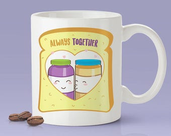 Peanut Butter & Jelly Love Mug - Say I Love You With PB and J - Cute Coffee Mug [Gift For Him / Gift For Her]