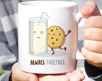 Milk & Cookies - Always Together Love Mug [Gift Idea - Makes A Fun Present] [For Him / For Her] Cute Couple Mug