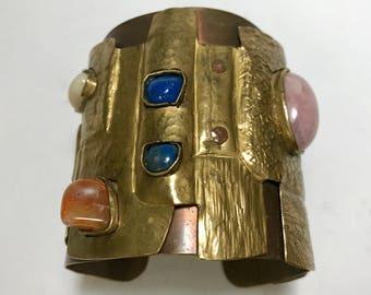Juan Reyes Brass Copper Natural Gemstone Cuff Bracelet