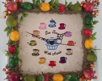 "Vintage Wall Clock Tea Cup  ""Tea Time with Annie"" Embroidered wall art Handmade Home Decor"