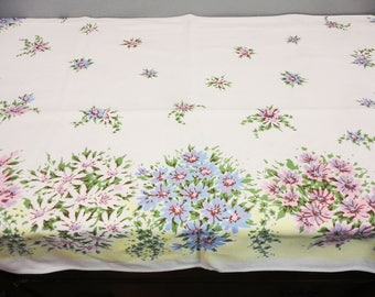 Vintage Simtex Tablecloth with Original Tag - Rectangular - Pink, Blue and White Floral with Yellow Accent Border - 52 x 49