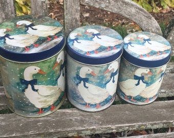 Duck Geese White Duck Canister Set Vintage Canister Set Winter Duck Canisters 3 Duck canisters Blue Canister Blue tin LOVE it All Boutique