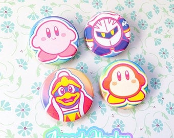 Kirby neon Pinback Button Set! Includes 4