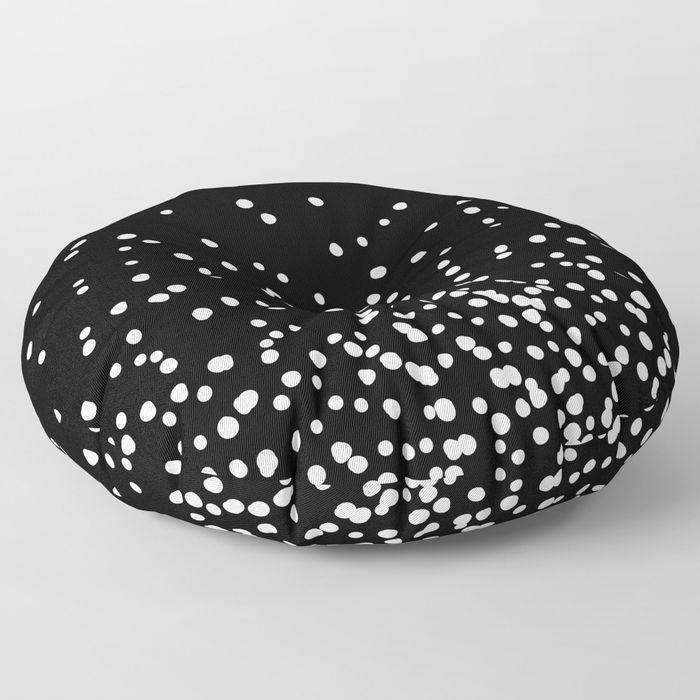 oversized floor pillow floating dots black and white round or square 26 or 32 throw. Black Bedroom Furniture Sets. Home Design Ideas