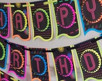 Neon Party Banner, Glow Party Banner, Neon Party Decor, Glow Party Supplies, Neon Party Supplies, Glow Party Decor