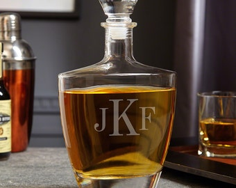 Classic Monogrammed Wallace Whiskey Decanter - Custom Personalized Decanter Engraved with Initials, Great for Wedding, Housewarming, Dad