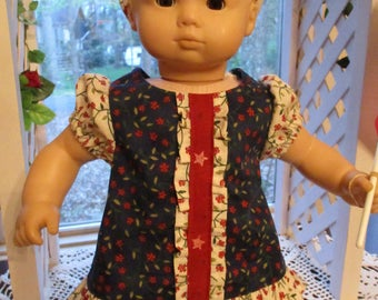 "Blue and Red Baby Doll Dress to fit your 15"" American Girl Bitty Baby or Bitty Twin"
