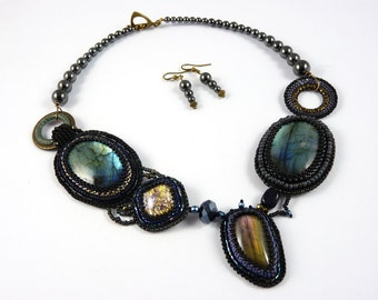 Asymmetrical necklace and earrings, black, Labradorite, Gothic, rock, bead embroidery