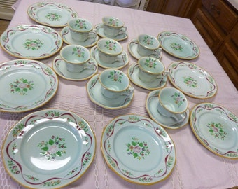 """ON SALE!!! 20% OFF!!! Vintage Set of Hand Painted Adams Calyx Ware Light Blue """"Ribbon"""" Pattern"""