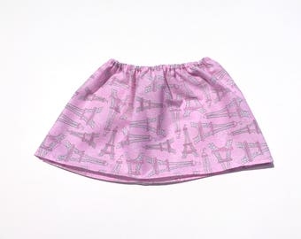 Paris Infant Skirt, Pink flower skirt, Eiffel Tower skirt, Parisian baby, Infant Skirt, Small Toddler Skirt