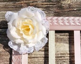 Hair Bow Holder, Baby Girl Nursery, Wall Art, Girl, Vintage, Shabby Chic, Metallic, Pink, Ivory.