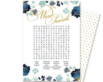 Baby Shower Word Search | Printable Baby Shower Games | Boho Chic Baby Shower | Floral Baby Shower Decorations | INSTANT DOWNLOAD