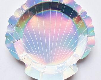 Mermaid party plates, shell plates, mermaid partyware, Scalloped shell, Holograhic, Meri Meri, children's mermaid party theme, under the sea