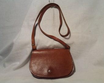Vintage 1980's Brown Leather Handbag - Shoulder Bag - Small Size