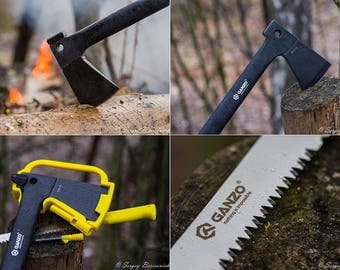 Ganzo Multi Tool Survival Axe (Contains Axe, Fire Striker and Hand Saw)