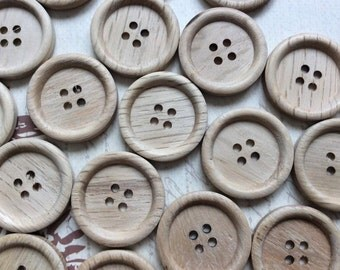 SET of 20 Wooden Round 4 hole sewing buttons