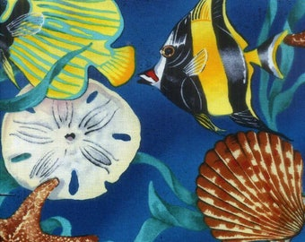 Large Tropical Fish Cotton Fabric Alexander Henry Seashells  By the Yard