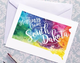 South Dakota Watercolor Map Greeting Card, Greetings from South Dakota Hand Lettered Text, Gift, Postcard, Giclée Print, Choice of 5 Colors