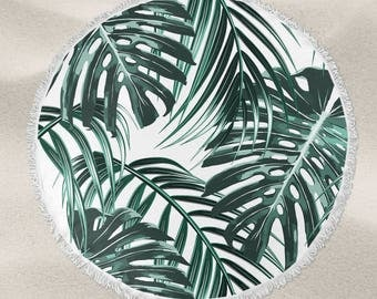 Tropical leaf over-sized round beach towel