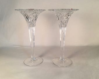 Pair of Vincennes Crystal Candlestick Holders by Cristal d'Arques Paris