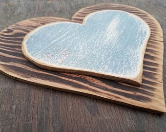 Wooden hearts hand made out of old recycled wood