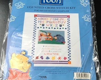 "Winnie The Pooh Counted Cross Stitch Kit Item 34004  Too Much Honey Sampler Leisure Arts 17 1/8 x 11 3/4 "" 14 Count Aida  Tigger Eeyore New"