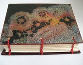 Lace Book, ACEO book, Small Coptic Book, Little Journal, Red and Black Book, Handmade Book, Small Sketchbook