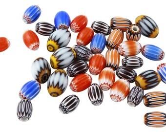 28 Pcs 6x8-7x11 mm African Glass Beads Mix Lot (GAF100106)