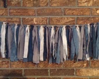 Shabby Chic Fabric Garland- blue, gray, denim