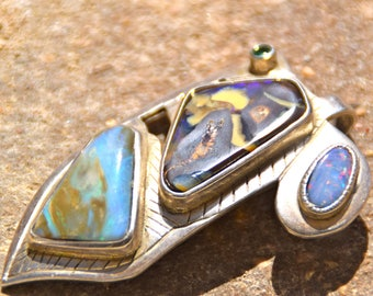Large sterling silver pendant with boulder opals
