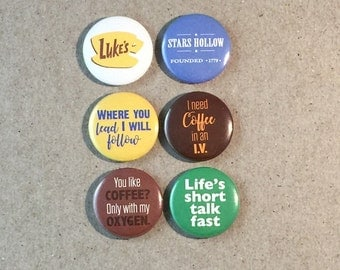 Gilmore Girls Luke's Star's Hollow Quotes Fan Art 6 - 1 or 1.25 Inch Pinback Button Pin Badge Set