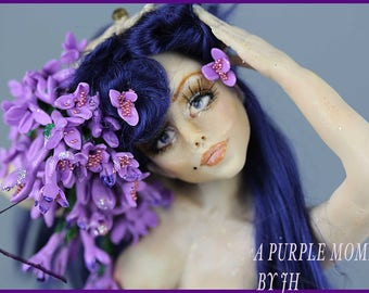 A PURPLE MOMENT DOLL art fantasy doll/ gift and home decorations/ fantasy doll/doll collectors /present/handmade doll/sculpted doll/dolls/