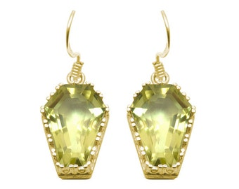 Coffin Earrings 10ct Lemon Quartz Solid Gold