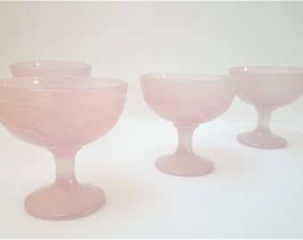 Pink ice cream Cups , sorbet , Dessert , French Table , 80s , Vintage