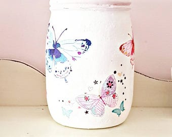 Butterfly Utensil Jar, Butterfly Jar, Painted Jar, Decoupage Jar, Butterfly  Home Decor