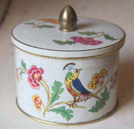 Vintage Cote D 'Or Round Tin, Flower and Bird Decor