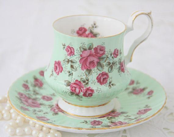 Vintage Royal Windsor Bone China Mint Green Cup and Saucer, Pink Rose Decor, England