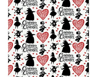 Alice in Wonderland - Curiouser and Curiouser - Cotton Fabric by the Half Yard