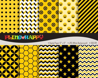 70% OFF Yellow And Black Digital Papers, Yellow And Black Digital Papers Graphics, Personal & Small Commercial Use, Instant Download