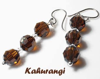 Mocca Brown Swarovski earrings,Stylish Brown Swarovski earrings,Swarovski drop earrings,Crystal Swarovski earrings,Trendy Swarovski earring