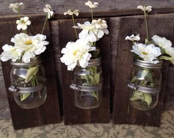 Mason jar  wall decor, hanging mason jar wall vase , rustic wall sconces, farmhouse decor, set of 3 wall vases, Jacobean color