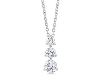 Triple Stone Drop, CZ Necklace, Wedding Necklace, Bridal Jewellry, Crystal Necklace, Statement Necklace, 3 Stone Necklace, Classic Necklace