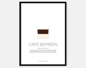 Café bombón coffee print – Coffee art – Coffee gifts – Coffee lovers gifts – Espresso – Kitchen print – Kitchen art – Wall art – Gift