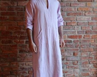 Linen Caftan Pink Mens Kaftan Loungewear Long shirt  Homewear Linen Robe Linen Beach wear  Custom order